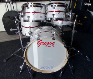 White Marine Pearl with Red Pearl inlay Finish